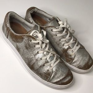 Women's Toms shiny silver shoes size 10